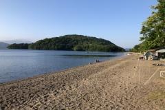 今回の屈斜路湖はほとんど波がなく静かです