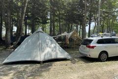 林間のサイトは車両乗り入れ可能